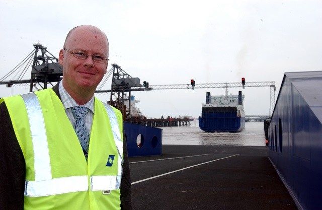 Sean Potter welcomes the first vessel to the new Immingham outer harbour development in 2006.