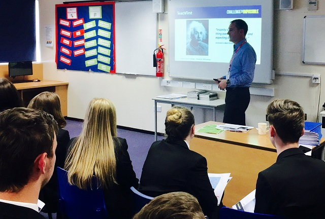 Matthew Wright taking a class at John Whitgift Academy, Grimsby.